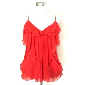 NWT BCBGmaxazria Silk Ruffle Top Strap Poppy Red